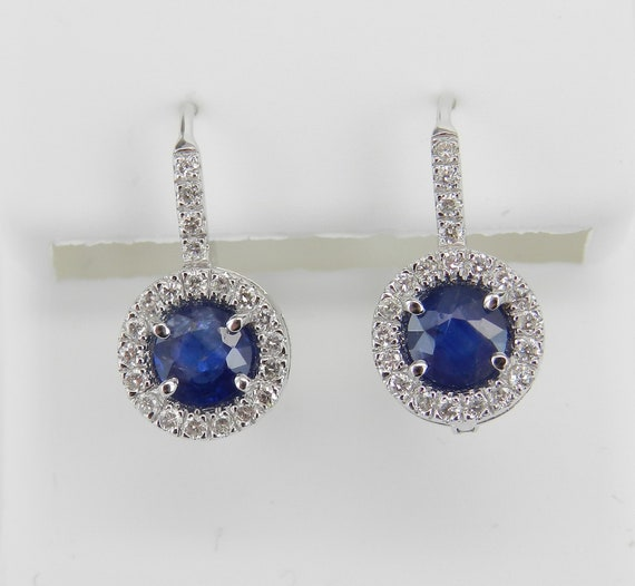14K White Gold Sapphire and Diamond Halo Drop Earrings Wedding Gift Leverback