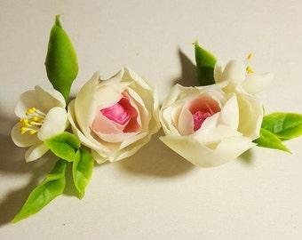 Earrings with Ranunculus and Jasmine - Earring - Women Accessories - Flower Floral Earrings - Gift - Flower Wedding Earrings