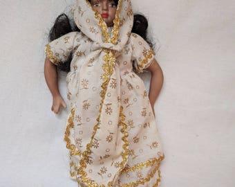 "Porcelain Doll - East India National Dress - 10"""