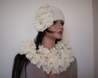 crochet flower hat and scarf, flapper hat and long scarf, freeform hat decorated crystal buttons, cloche scarf, winter warm hat scarf