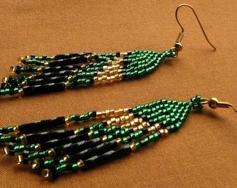 Green, Gold, Black Party Earrings