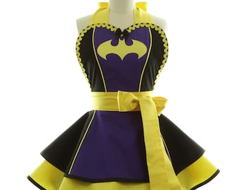 Retro Apron - Purple Batty Girl Womans Aprons - Vintage Apron Style - Comics Pin up Rockabilly Cosplay Lolita