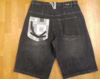 KARL KANI shorts, vintage Kani jeans denim shorts 90s hip-hop clothing, old-school, 1990s hip hop, gangsta rap, black, OG, mens size W 36