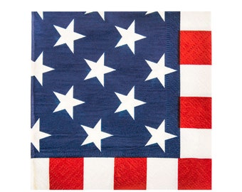 Stars & Stripes SMALL Dessert Napkins 2-Ply, Set of 25 - 4th of July, Independence Day, America, Picnic, Red White Blue, Memorial Day