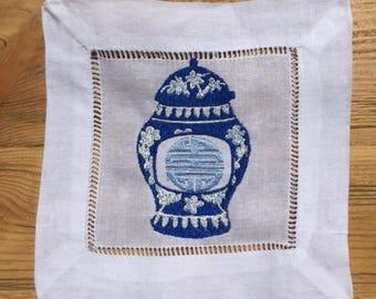 Ginger Jar Embroidered Cocktail Napkin Set