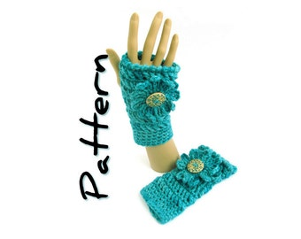 Chunky Fingerless Mitts Crochet Pattern PDF, easy written instructions, one skein bulky yarn, UK & US crochet terms, instant download