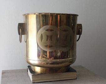 Large Vintage Brass Planter with Chinese Symbol Asian Boho Glam Bohemian