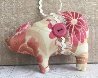 farmhouse decor - pig ornaments - shabby cottage decor - pink pigs - novelty ornaments - pig decor - animal ornaments - cottage ornaments