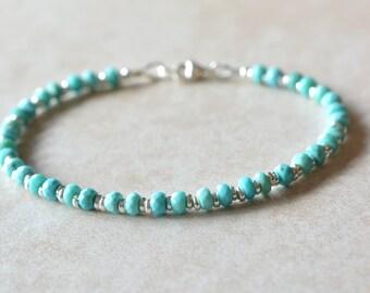 Sleeping Beauty Turquoise, December Birthstone Bracelet, Arizona Gemstone Bracelet, Beach Wedding Jewelry, Beaded Stacking Bracelet, Gift