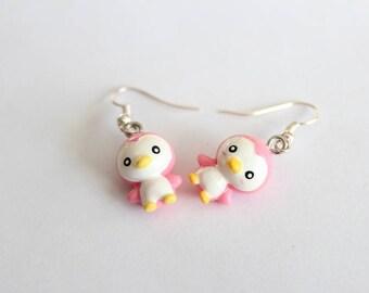LITTLE pink Penguin earrings