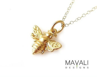 Gold bee necklace Etsy