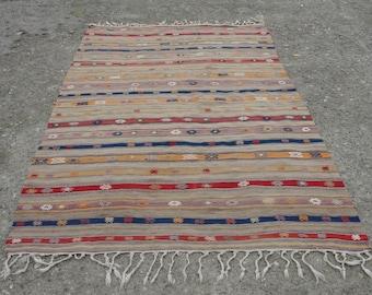 "Turkish Kilim Rug,5'3x8'5"" Feet,160255cm,RED Decorative Kilim Rug,Vintage Home Decor,Turkish Kilim"