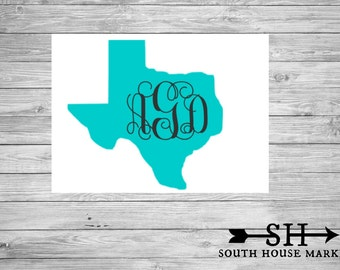 Texas State Decal With Monogram// Monogram Texas decal// Texas Decal with name// Personalized Decal // State Decal