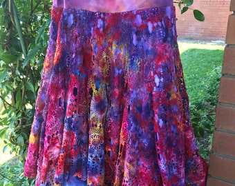 Women's Size 10-12 Hand Dyed Hand Made Vintage Crochet Pixie Skirt with Yoga waistband