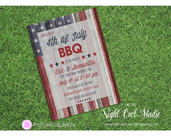 Fourth of July Invitation, 4th of July Invite, Independence Day, Memorial Day, BBQ, Summer BBQ, Rustic, Patriotic Invite