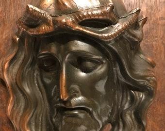 Vintage 70s Copper Jesus Plaque// Religious Collectibles