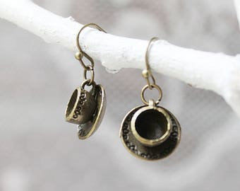 Teacup Earrings Gift - Bronze Teacup Jewelry - Coffee Cup Earrings - Tea Lover Gift - Coffee Lover Gift - Coffee Cup Jewelry For Women