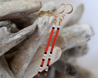Long Dangle Earrings - Dainty Earrings - Red Dangle Earrings - Gold Filled Earrings - Dangle Earrings - Bead Earrings- Minimalist Jewelry