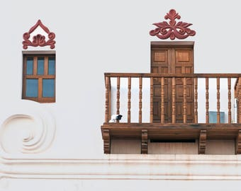 Window, Balcony and Scroll, San Xavier del Bac, architectural photography