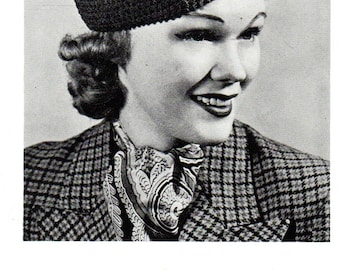 Vintage 1930's  Sporty Ladies' SPORT HAT Crocheted Hat  PDF / 1938 Pattern
