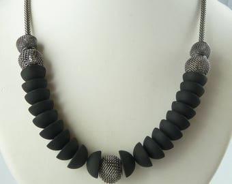 Black and grey TEMPTATION - brand COCOLLANA - woman necklace