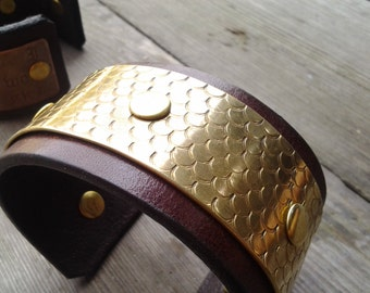 brass and leather cuff with mermaid scales