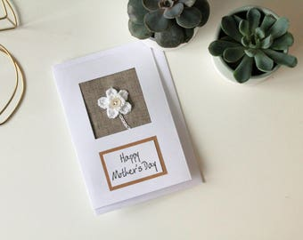 Happy Mother's Day Crochet Flower card A6 / Handmade Mothers Day card / Neutral Flower card / Daffodil Card / White and Hessian Card