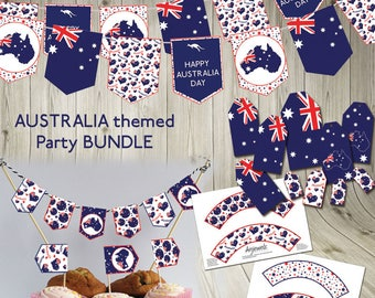 Australia Day Party Bundle Bunting printable download Australia flag cupcake Australian flag gift tags customised bunting printable banner