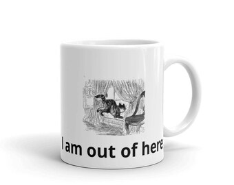 Cat Mug Featuring Cat Jumping Out of Window I Am Out of Here