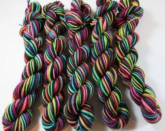 Hand Painted Superwash Merino/Nylon 4-Ply Sock Yarn Mini Skeins (20grams/92yards) -- Tickle Me Emo (Striping)