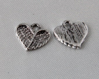 Antique Silver Angel Wing Heart Charms - 10 pcs