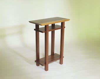 Live Edge Table - Walnut - Modern Nightstand with Shelves, Narrow Wood Table for Bedroom
