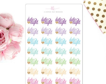 Date Night | Planner Stickers | Date Night Stickers | Date Stickers | Night Out Stickers | Event Stickers | Stickers | TN Stickers |