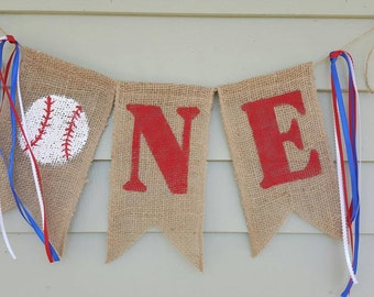 Baseball banner burlap. ONE!! Made by a stay at home veteran.