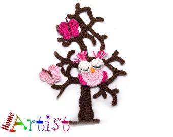 Crochet Applique Tree bird butterfly Owl