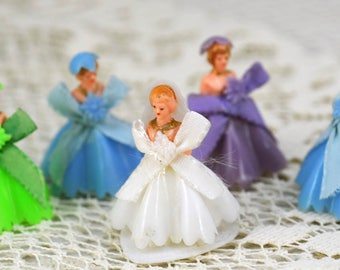 Antique Wedding Cake Toppers, Bride and Bridesmaids  1950 AB