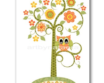 Tree Nursery Owl Nursery Art for Children Printable Digital Print Baby Girl Nursery Print Digital Download Print 8x10 11X14 INSTANT DOWNLOAD