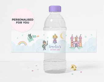 Fairytale water bottle labels, Printable Princess water bottle labels, Personalised Princess water bottle labels, Princess party decorations