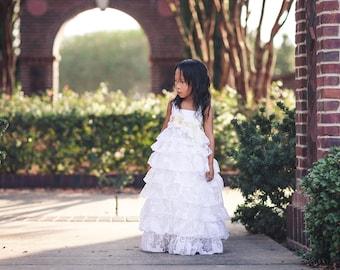 Rustic Country Flower Girl Dresses, First Communion Dress, White Boho Ruffle Dress, Girls Maxi Dress, Shabby Chic, Photoshoot Dress, Cosette