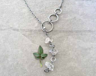 silver lariat necklace, herkimer diamonds, boho necklace, metalwork jewelry, fine silver rings, stone and silver jewelry