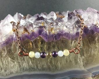 Multi sone necklace, gemstone necklace, crystal necklace, natural stone necklace, healing crystal necklace, Aquamarine, copper necklace