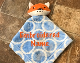 Lovey-Security Blanket-Baby Shower Gift-New Baby Gift-Easter Gift-Baptism Gift-Custom-Personalized-Embroidered-Animal- Fox