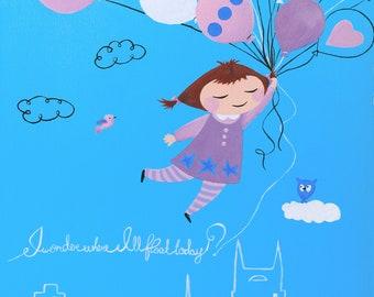 I Wonder Where I'll Float today. Giclee PRINT 8x10 of original acrylic painting. Nursery decor.