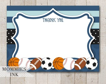 Sports Flat Thank You Note, Allstar Thank You Card, Flat Note, Sports Theme, Allstar Sports Baby Shower, Sports Thank You Card