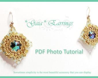 Photo Tutorial  Eng-Ita DIY earrings,*Gaia* earrings,PDF Pattern 46 with rivoli swarovski,swarovski,,seed beads