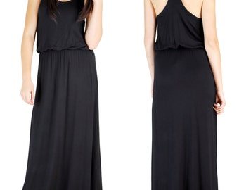 SALE - Ultra Soft Black Jersey Maxi Dress