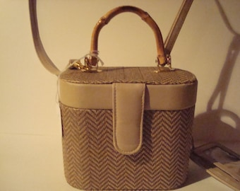 Vintage retro purse with handle and strap