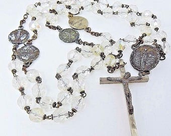 Our Lady of the Snows Vintage Rosary Clear Faceted Beads Aurora Borealis