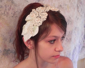Lace Floral Applique Wedding Headpiece Bridal Headband With Silk Leaves and Blush Pink Glass Flowers