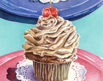 Cupcake Print Ready To Hang Dessert Art Home Decor